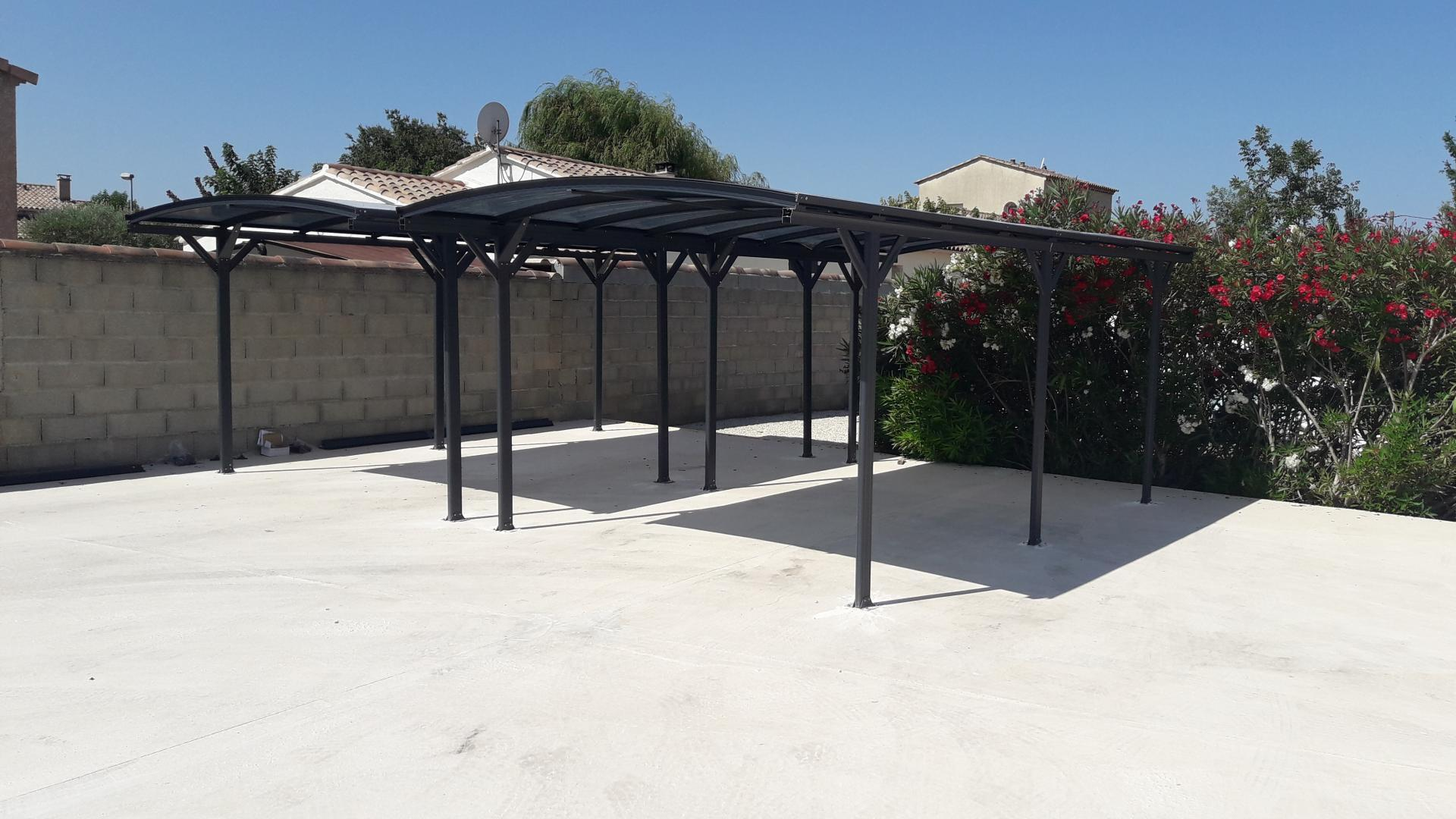 carport en aluminium anthracite 3x5 76m et polycarbonate. Black Bedroom Furniture Sets. Home Design Ideas