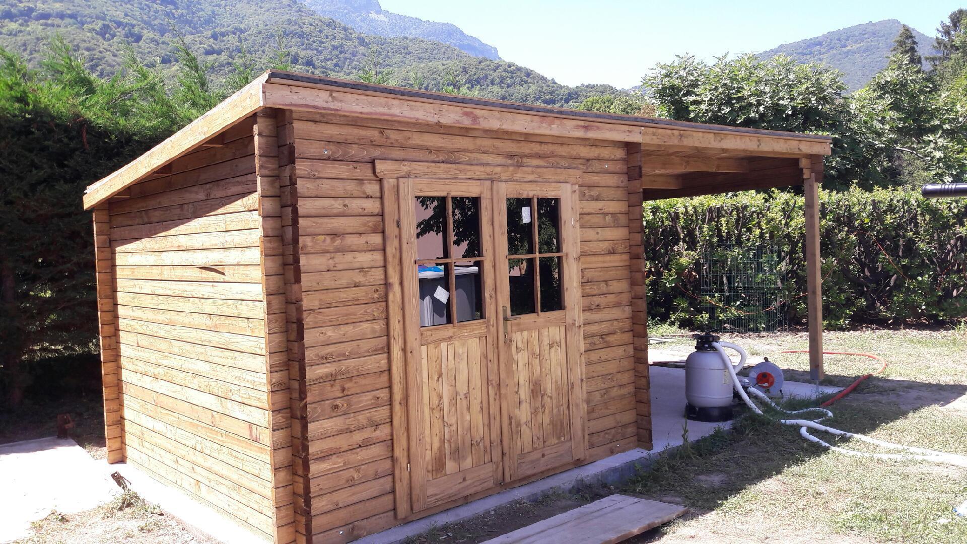 Abri toit plat bois traité 9m² 40mm + Terrasse 9m² Gardy Shelter