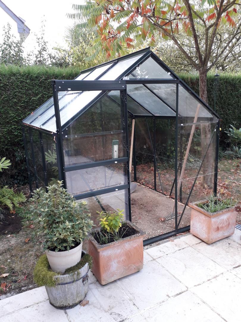Serre de jardin 3 8m verte en verre horticole popular halls - Serre de jardin en verre pas cher ...